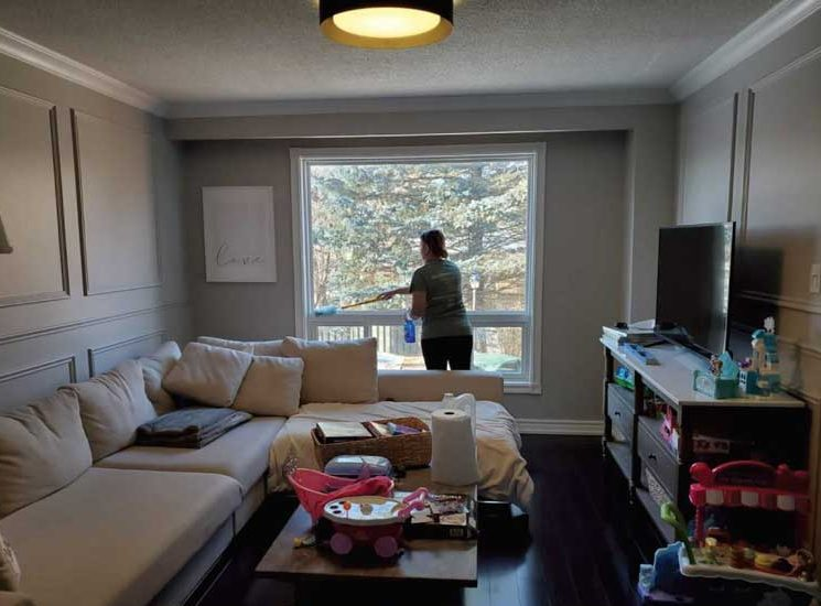 cleaning a living room