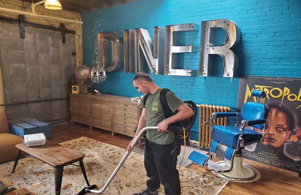 vacuuming a diner